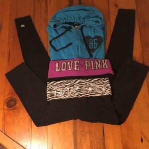 PINK Lot (3) Hooded Sweatshirt, 2-Yoga leggings